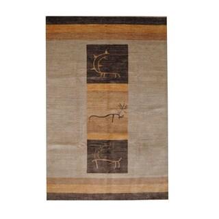 Herat Oriental Afghan Hand-knotted Vegetable Dye Oushak Beige/ Brown Wool Rug (6'6 x 9'10)