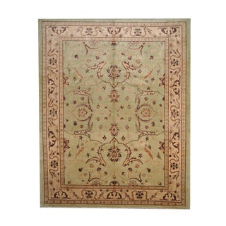 Herat Oriental Afghan Hand-knotted Vegetable Dye Oushak Light Green/ Gold Wool Rug (8'1 x 10'1)