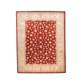 Herat Oriental Afghan Hand-knotted Vegetable Dye Oushak Red/ Ivory Wool Rug (8'7 x 10'5)