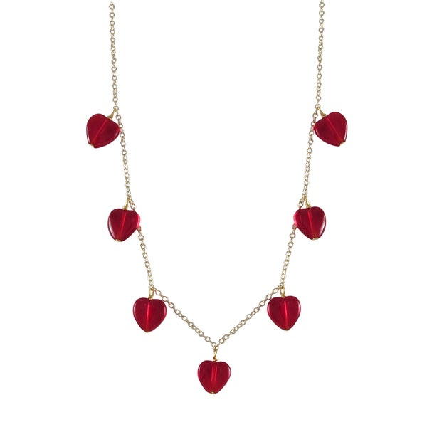 Gold Finish Red Heart Girls Charm Necklace