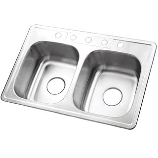 Double Bowl Self-rimming 33-inch Stainless Steel Kitchen Sink with 5 holes