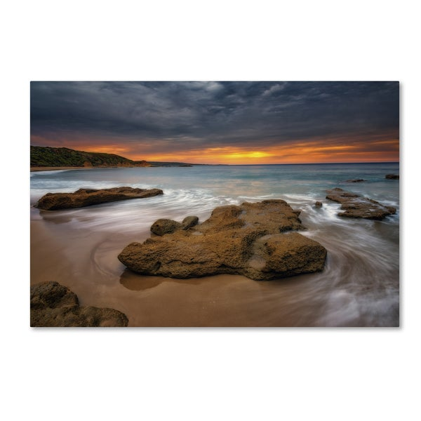 Lincoln Harrison 'Beach at Sunset 5' Canvas Art