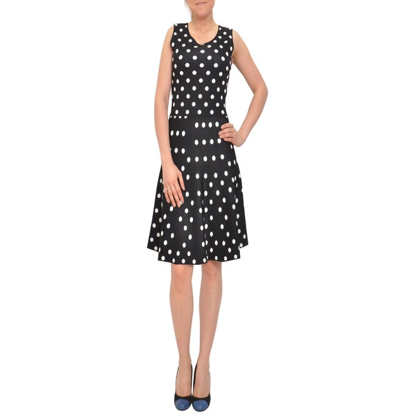 Bellario Women's Polka Dot Sleeveless Fit-and-flare Knit Casual Dress