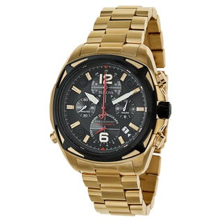 Bulova Men's 'Precisionist' Stainless Steel Yellow Gold Plated Quartz Watch