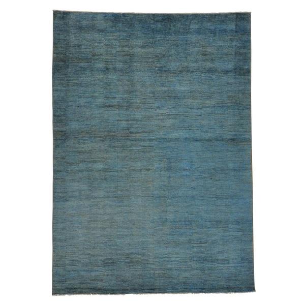 Handmade Sky Blue Gabbeh Oriental Rug 100-percent Wool (9'10 x 14')