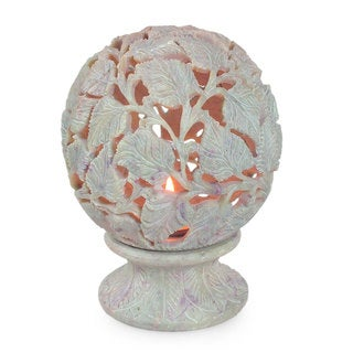 Light the World Leaf Motif Hand Carved Off White with Natural Variations Soapstone Jali Openwork Tea Light Candleholder (India)
