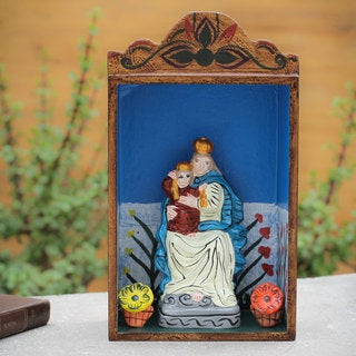 Handcrafted Ceramic Wood 'Our Lady of Fatima' Diorama Sculpture (Peru)