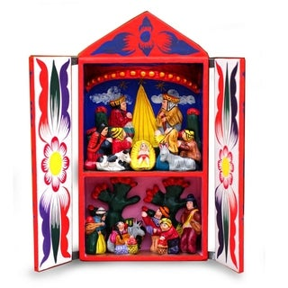 Handcrafted Ceramic Wood ', Handmade in Peruvian Christmas' Diorama Sculpture , Handmade in Peru