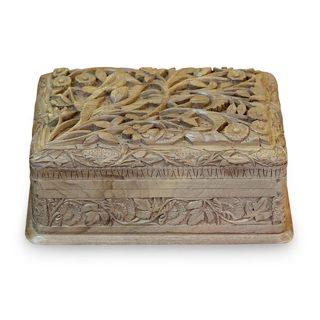 Handcrafted Walnut Wood 'Birds in Wonderland' Jewelry Box (India)