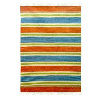 Handcrafted Wool 'Bold India' Rug 4x6 (India)