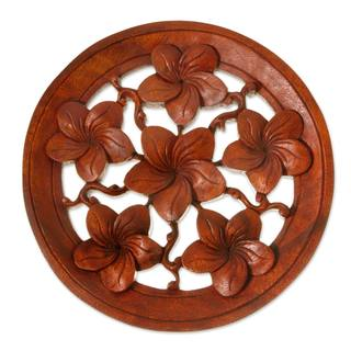 Handcrafted Suar Wood 'Six Blossoms' Relief Panel (Indonesia)
