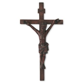 Handcrafted Mahogany Wood 'Crucifix' Wall Sculpture (Ghana)