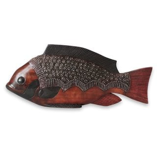 Handcrafted Sese Wood 'Akpa Fish' Sculpture (Ghana)