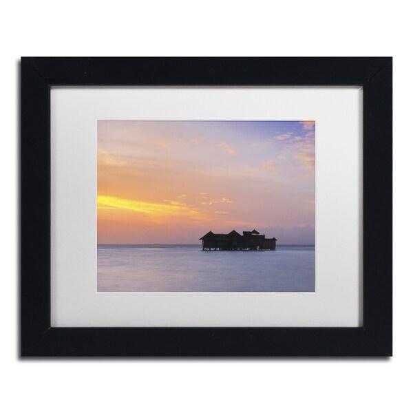 David Evans 'Sunset Solitude-Maldives' Canvas Framed Art