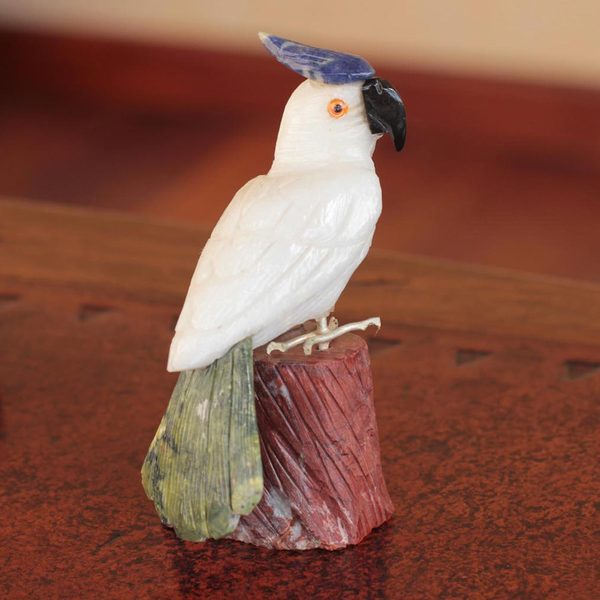 Handcrafted Multi-gemstone 'Perky Pink Cockatoo' Sculpture (Peru)