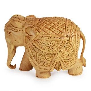 Unique Gift Mothers Day or Any Occasion Hand Carved Brown Wood Decorator Accent Majestic Elephant Art Work Sculpture (India)
