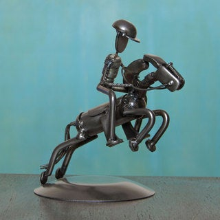 Handcrafted Auto Part 'Rustic Jockey' Sculpture (Mexico)