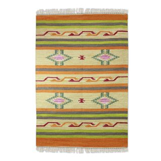 Handcrafted Wool 'Indian Citrus' Dhurrie Rug 4x6 (India)