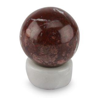 Handcrafted Garnet Calcite 'Passion' Sphere Sculpture , Handmade in Peru