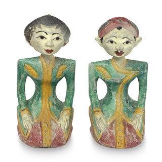 Set of 2 Suar Wood 'Half of My Soul' Sculptures (Indonesia)
