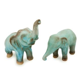 Set of 2 Handcrafted Ceramic 'Thai Greetings' Figurines (Thailand)