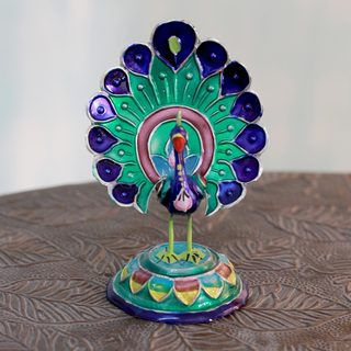 Meenakari Sterling Silver 'Lucknow Peacock' Figurine (India)