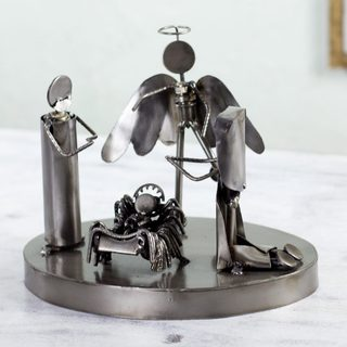 Handcrafted Auto Part 'Holy Family' Nativity Scene (Mexico)
