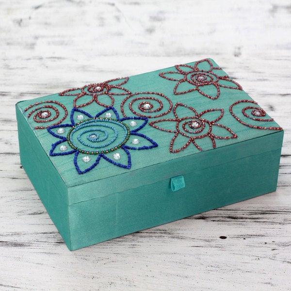 Handcrafted Embellished 'Aqua Magic' Jewelry Box (India)