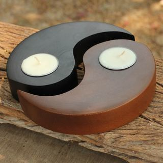 Set of 2 Handcrafted Wood 'Light of Yin Yang' Candleholders (Thailand)