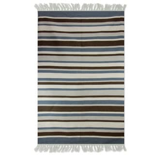 Handcrafted Wool 'Cool Horizon' Dhurrie Rug 4x6 (India)