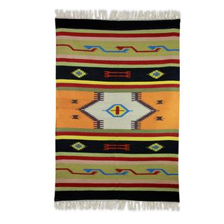 Handcrafted Wool 'Fiery Flavor' Dhurrie Rug 4x6 (India)