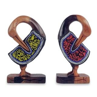 Set of 2 Beaded Ebony Wood 'Sankofa Birds' Sculptures (Ghana)