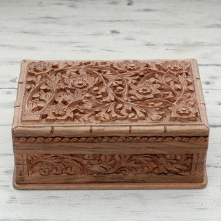 Handcrafted Walnut Wood 'Blossoms in the Valley' Jewelry Box (India)