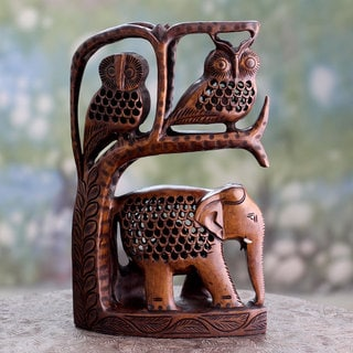 Handcrafted Wood 'Forest Creatures' Sculpture (India)