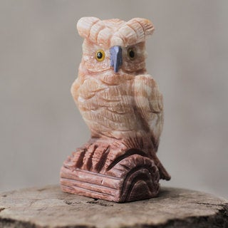Handcrafted Calcite Sodalite 'Rosy Owl' Sculpture (Peru)