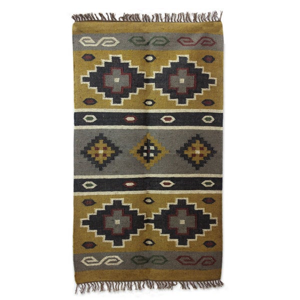 Handcrafted Jute 'Earth Diamonds' Rug 3x5 (India)