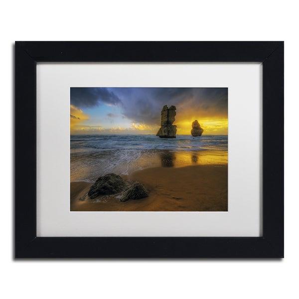 Lincoln Harrison 'Beach at Sunset' Canvas Framed Art