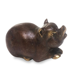 Handcrafted Bronze 'Chubby Pig' Figurine (Indonesia)