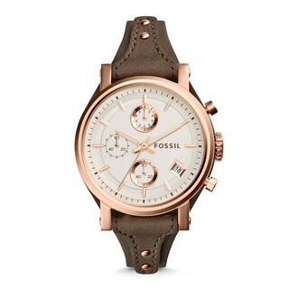 Fossil Woman's ES3818 Original Boyfriend Chronograph Leather Watch