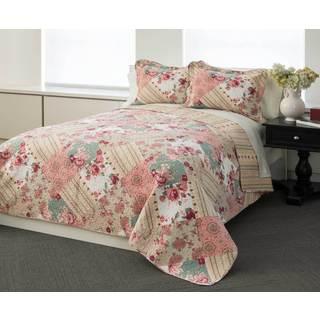 Garden Patchwork 100-percent Cotton 3-piece Quilt Set