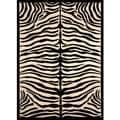 Greyson Living Zara Zebra Pattern Black/ Ivory Olefin Area Rug (5'3 x 7'6)