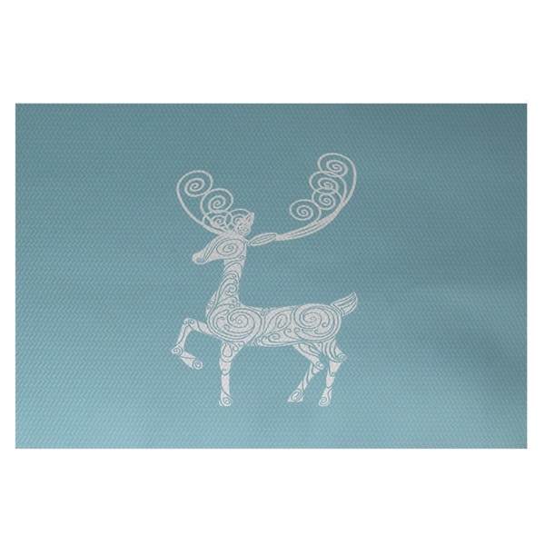 Blue/ Red/ Grey/ Green Holiday Animal Print Decorative Area Rug (2' x 3')