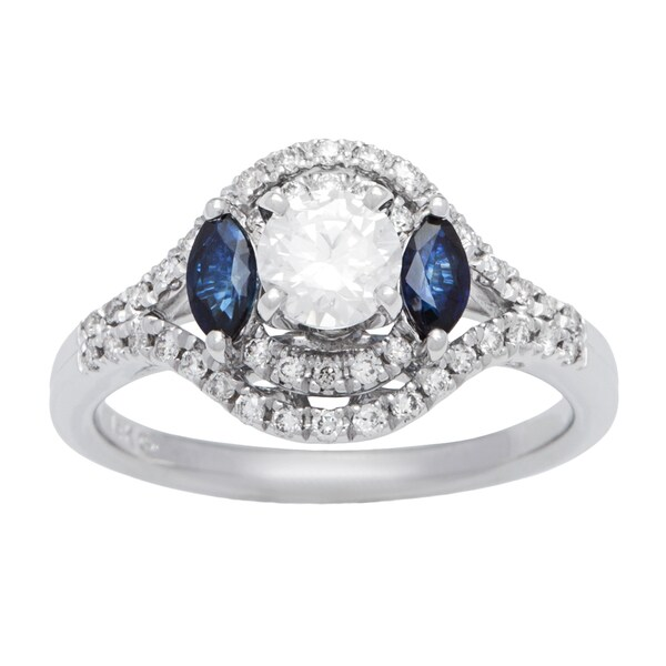 14k White Gold 3/4ct TDW Diamond and Blue Sapphire Engagement Ring (G-H, SI1-SI2)
