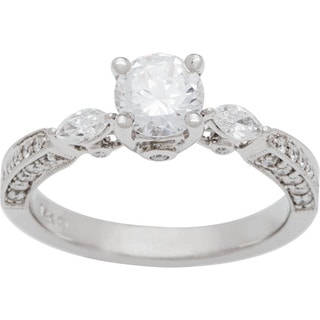 Boston Bay Diamonds 14k White Gold 1 1/5ct TDW Round and Marquise Diamond Engagement Ring (G-H, SI1-SI2)