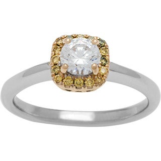 14k Two-tone Gold 5/8ct TDW White and Yellow Diamond Halo Engagement Ring (G-H, SI1-SI2)
