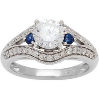 Boston Bay Diamonds 14k White Gold 1 3/8ct TDW Diamond and Blue Sapphire Engagement Ring (G-H, SI1-SI2)
