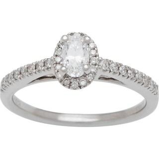 Boston Bay Diamonds 14k White Gold 1/2ct TDW Diamond Halo Engagement Ring (H-I, SI2-I1)