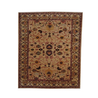 Herat Oriental Afghan Hand-knotted Vegetable Dye Oushak Gold/ Navy Wool Rug (8' x 9'8)