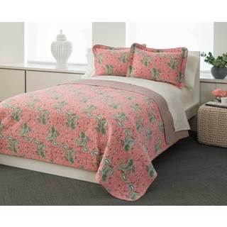 Coral Paisley 100-percent Cotton 3-piece Quilt Set