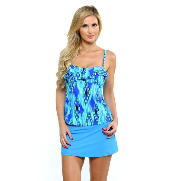 Island Waves Blue Tahiti Bandini with Skirtini Swimsuit